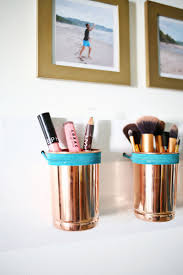 17 diy bathroom decor ideas on a budget 9 leather copper cup organizer