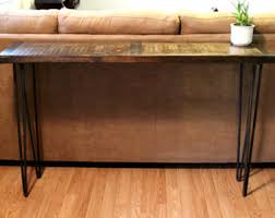 Metal And Wood Sofa Table by Metal Inlayed Reclaimed Wood Sofa Table With Hairpin Legs