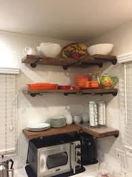 Pipe Shelves Kitchen by Set Of 3 12 Deep Industrial Floating Corner Shelves