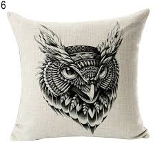 cute owl pillow case bed sofa throw cushion cover pillowcase home
