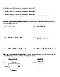 like terms simplifying expressions quiz test or review