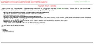 customer service work experience certificate