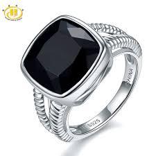 black gemstone rings images Hutang cushion 12mm natural black onyx ring s925 sterling silver jpg