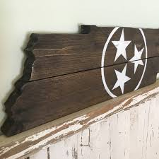 rustic tennessee state white tristar cutout wall hanging sign home