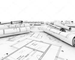 construction plan in roll with scale and pencil u2014 stock photo