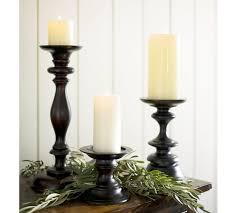 turned wood pillar candleholder pottery barn