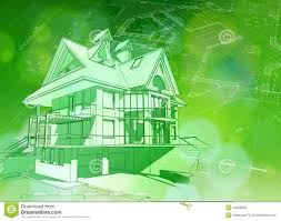 green architecture house plans blueprint 3d house plan green bokeh stock vector image 54630366