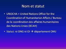 bureau de coordination des affaires humanitaires dans le cadre du cours d institutions internationales m safar mme