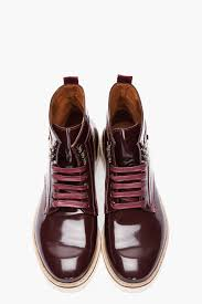 mcq burgundy patent leather military boot in brown for men lyst