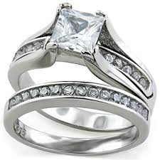 stainless steel wedding ring sets princess cut 1 carat cz wedding ring sets stainless