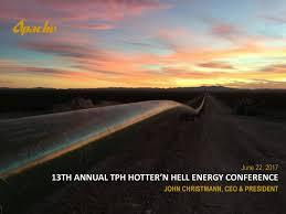 Seeking Hell Apache Apa Presents At Tudor Pickering Holt Co Hotter N Hell