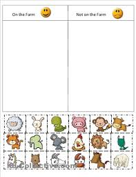 kindergarten farm cut and paste worksheets farm sort worksheet