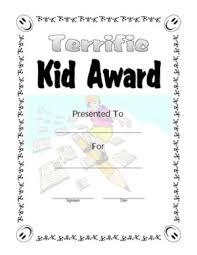 terrific kid award 1 certificate templates teachers