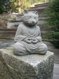 Cat Garden Decor Cat Buddha Statue Concrete Meditating Cat Figure Cement Garden