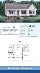 split bedrooms starter home plan 45476 total living area 1 258 sq ft 3
