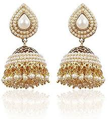 earrings for women buy shining white gold plated pearl traditional jhumki
