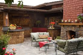 Outdoor Patio Kitchens by Craftsman Outdoor Kitchen And Fireplace Traditional Patio