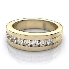 mens gold diamond rings 0 56 ctw men s channel set diamond ring in 14k yellow gold