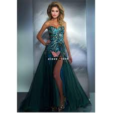 free shipping custom made sweetheart peacock feather evening gown