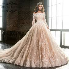 Champagne Wedding Dresses Online Shop Luxury Boat Neck Long Sleeve Lace Appliques Flowers