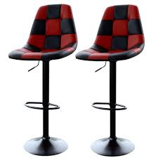 amerihome adjustable height red black swivel cushioned bar stool
