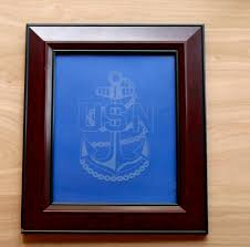 etched glass vase personalized military navy chief anchor personalized glass etched frame
