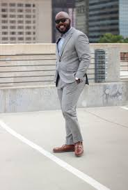 light gray suit brown shoes polo red xtreme notoriously dapper