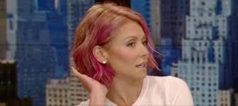 kelly ripa hair 2015 kelly ripa perky with pink hair provides mark consuelos with