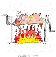 vector panicking cartoon pig roasting fire lafftoon