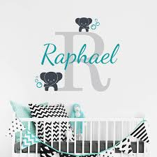 personalised name initial and elephants wall sticker by sirface personalised name initial and elephants wall sticker