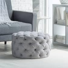 belham living allover round tufted ottoman grey walmart com