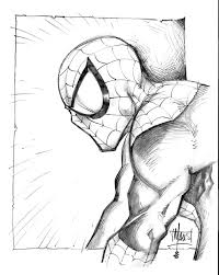 pictures black and white sketches of spiderman drawing art gallery