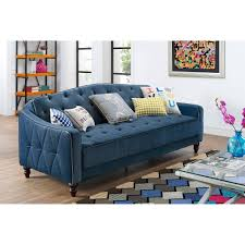 novogratz vintage tufted sofa sleeper ii blue ebay