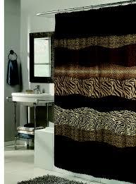 Zebra Print Bathroom Ideas Colors Animal Print Fabric Shower Curtain With Faux Sable Fur Trim