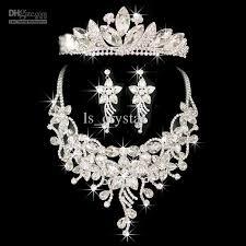 rhinestone necklace wedding images Top quality noble bridal jewelry set shining crystal headpieces jpg