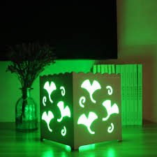 Neon Desk Lamp Remote Control Rgb Led White Art Duckweed Shaped Square Desk Lamp