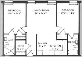 architectural plan of two bedroom flat with design ideas 3398