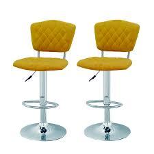 joveco modern adjustable swivel bar stools set of two yellow