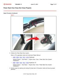 tsb 0091 12 rear power door fix page 2 toyota nation forum