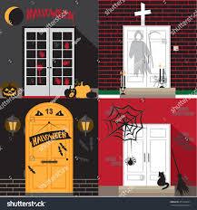 illustration different front door decorated halloween stock vector