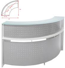White Reception Desk White Semi Circular Glass Top Reception Desk