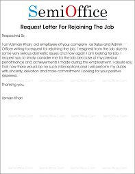 format of request letter to company rejoining letter after resignation from company