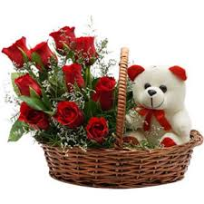 flower basket basket with teddy
