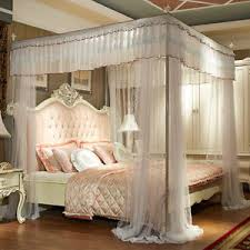 luxury bed canopy curtain valance lace stainless steel frame bed