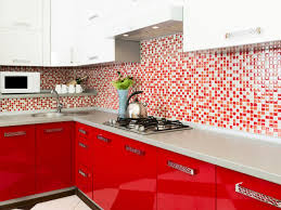 kitchen red kitchen cabinet white countertop white tile flooring