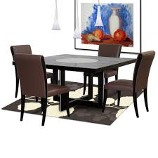 leather dining room sets inch square dining table with crackled glass lazy susan with four