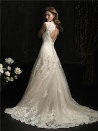 ivory lace wedding dress a line princess scallped neck ivory lace wedding dress keyhole