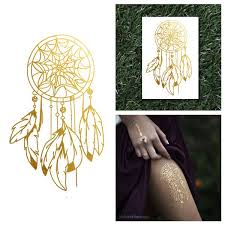 gold dream catcher native feathers metallic temporary jewelry