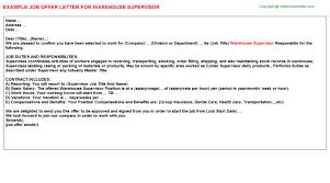 Sample Resume Warehouse Supervisor by Warehouse Supervisor Offer Letter
