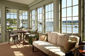awesome view from sun room desaign with l glass window in grayish
